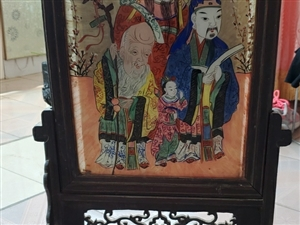 清代绘画插屏福禄寿三星,大概是道光年的老古董,玻璃面是手绘的福禄寿三星,从老房子搬过来的,据村里前些...