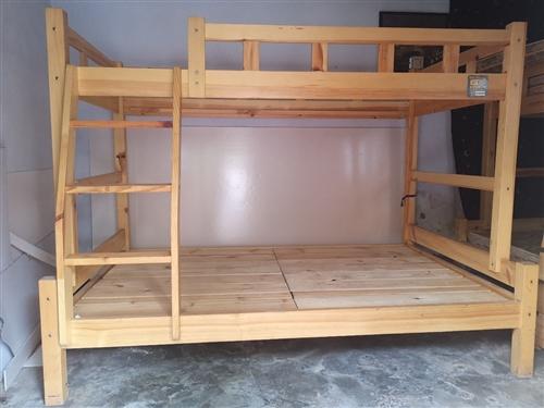實木雙層床,460一張,帶可拆洗棕墊,青州北關街,自取