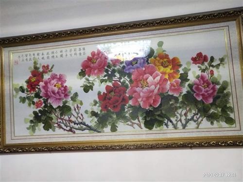 富贵牡丹十字绣,长2.12米,宽0.99米,象征富贵吉祥,因搬家出售,