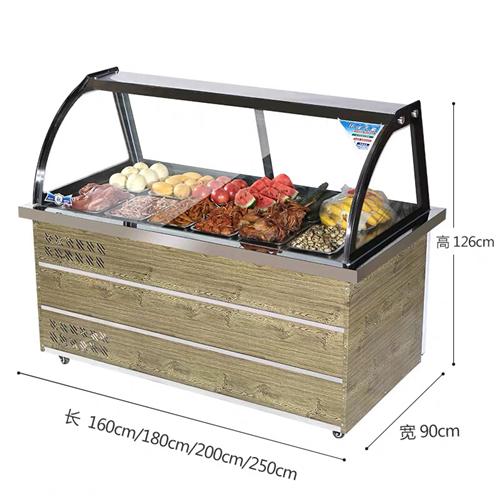 冰箱展示柜,玻璃展示柜适用于鸭脖,水果,蔬菜,肉类,蛋糕展示,上面展示柜下面冷藏速冻,相当于两个冰箱...
