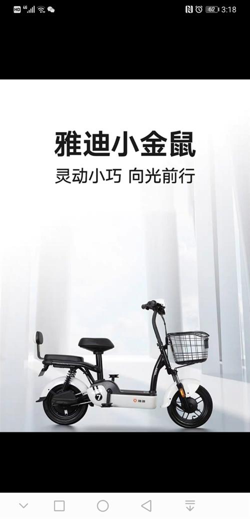 雅迪小金鼠电动自行车,买来才骑两个多月,很新!因私人原因急需卖出去。