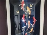 9鱼招财玄关晶瓷画,卖来一周时间,和装修有点不太搭,家里人不太喜欢,现低价转让。90cmX180cm...