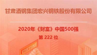 2020年《财富》中国500强排行榜揭晓,酒钢宏兴股份公司榜上有名!