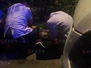 【突�l】昨晚阜��射河北路一人疑喝酒�T�撞上路牙,不省人事,情�r不妙