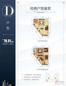D户型:两房两厅一厨两卫