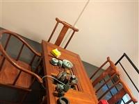 实木功夫茶桌椅一套 只用了两三个月 另有电脑桌椅4套