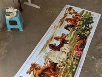 八骏图十字绣绣好的长两米四,宽86公分,580元