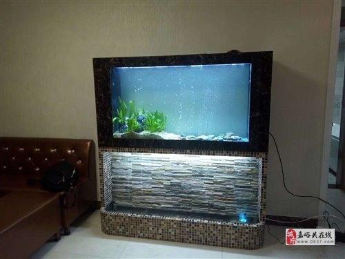 出售9成新大氣加濕流水瀑布魚缸