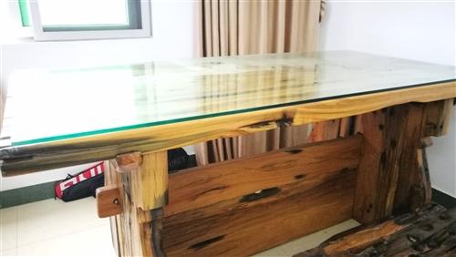 出售纯船木大书桌,由于搬家低价抛售,转椅赠送
