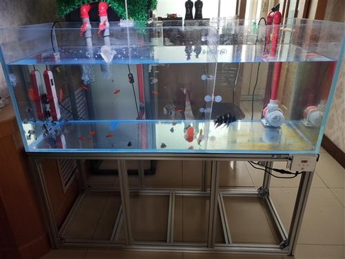 9.9成新鱼缸出售,150*60*60厘米,1.5厘米厚,五面超白,纯铝合金架子,独立周转箱过滤系统...