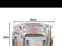 快餐盘7元.不锈钢圆碗3元,不锈钢菜碟1元(早餐稀饭装菜碟1人份)塑料淘米大圆篮子10元1个,塑料沥...
