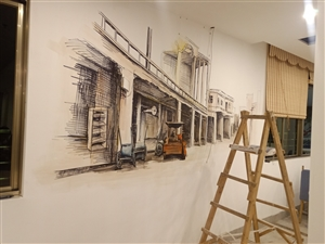 专业承接墙体彩绘画,墙体大字!