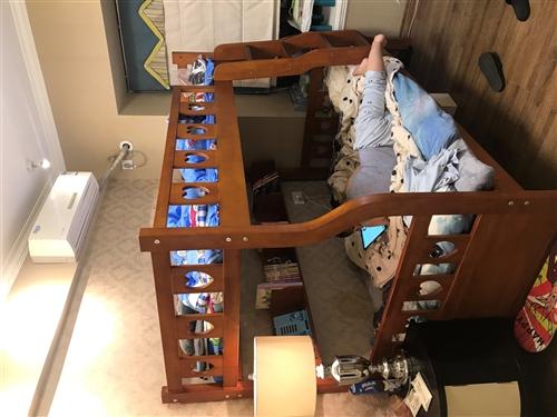 石木棕色上下床,因颜色孩子不喜欢,急于出售,需要者者联系本人??