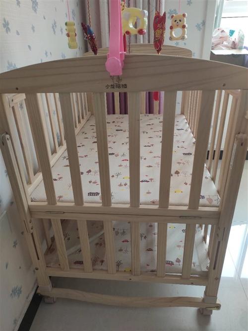 hd小龙哈彼 婴儿床多功能实木无漆新生儿宝宝童床 可加长拼九成新,买来基本没用过